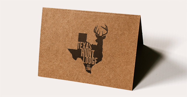Card with Texas Hunt Lodge Logo